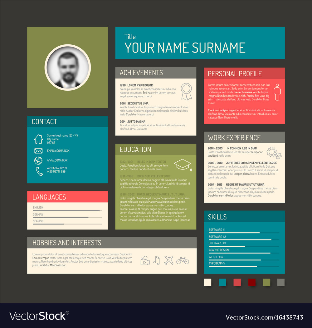 cv resume template dashboard royalty free vector image