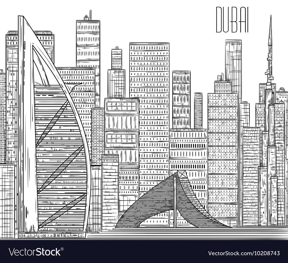 Dubai black and white cityscape in line art style vector image