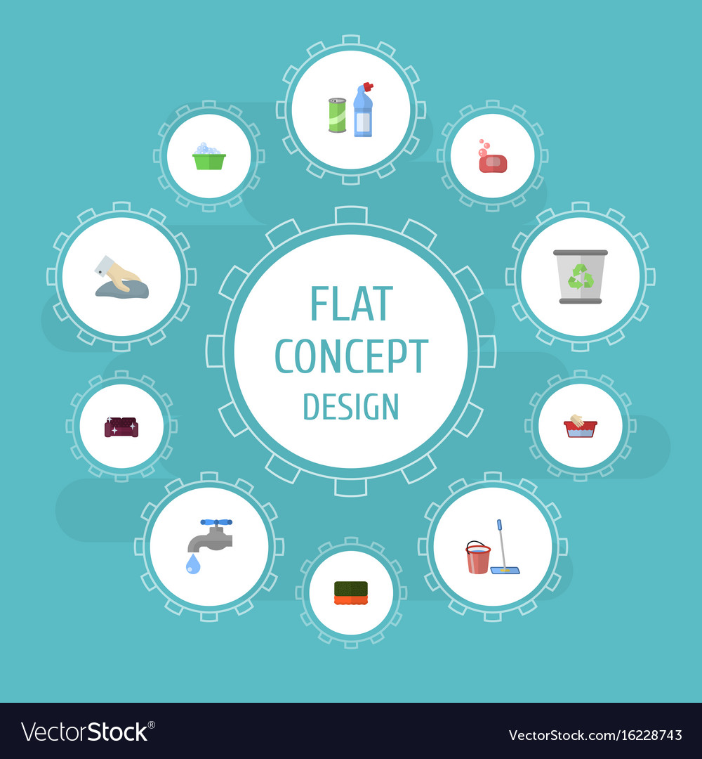 Flat icons sofa wisp faucet and other vector image
