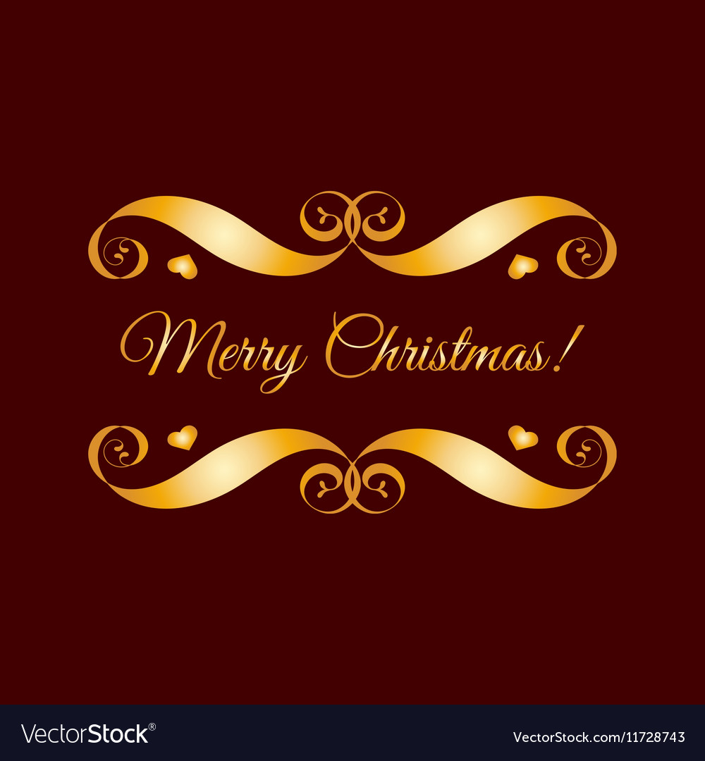 Gold Merry Christmas badge over brown vector image