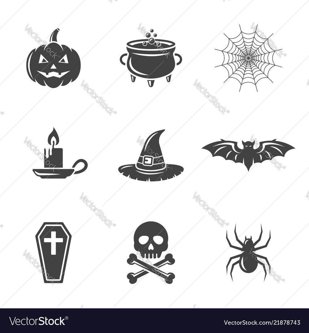 Halloween black icons isolated on white