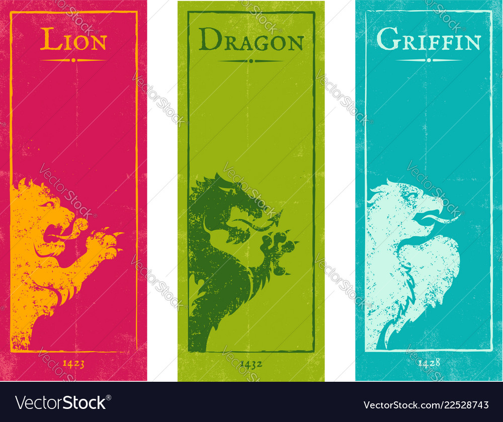 Lion griffin and dragon