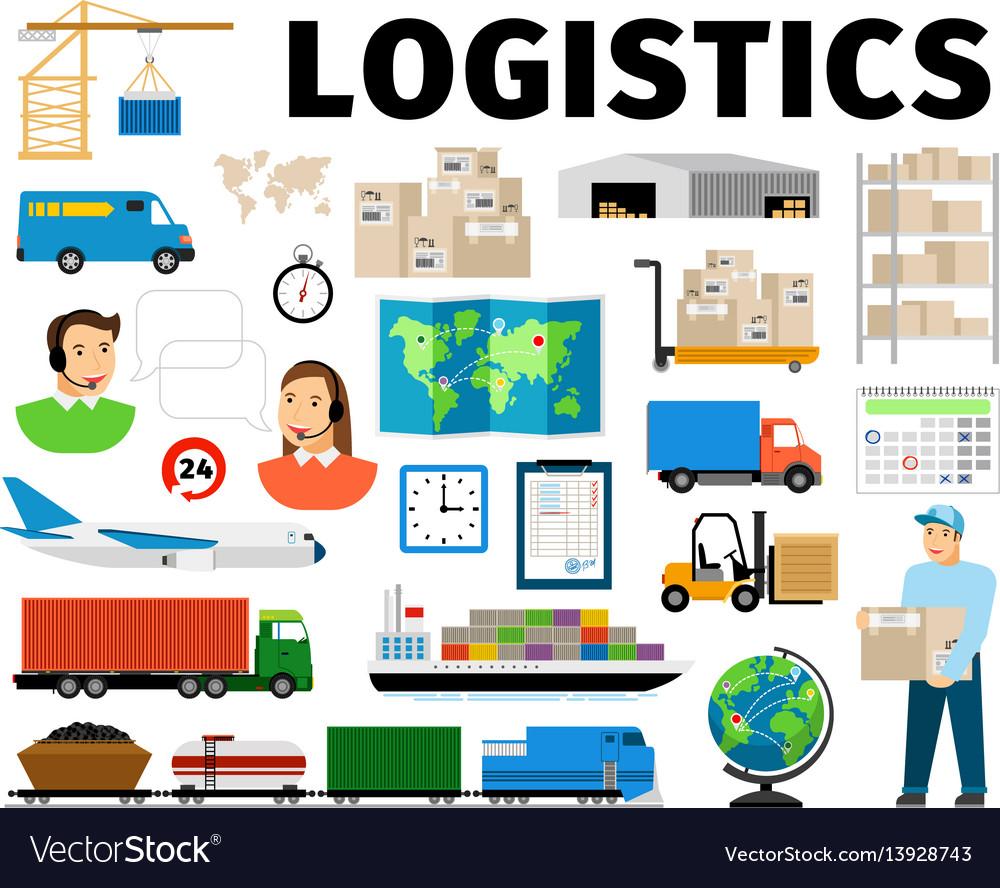 Logistics elements isolated on white