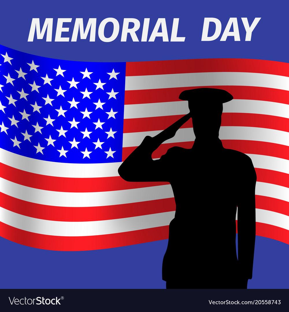 Memorial day design with saluting solder