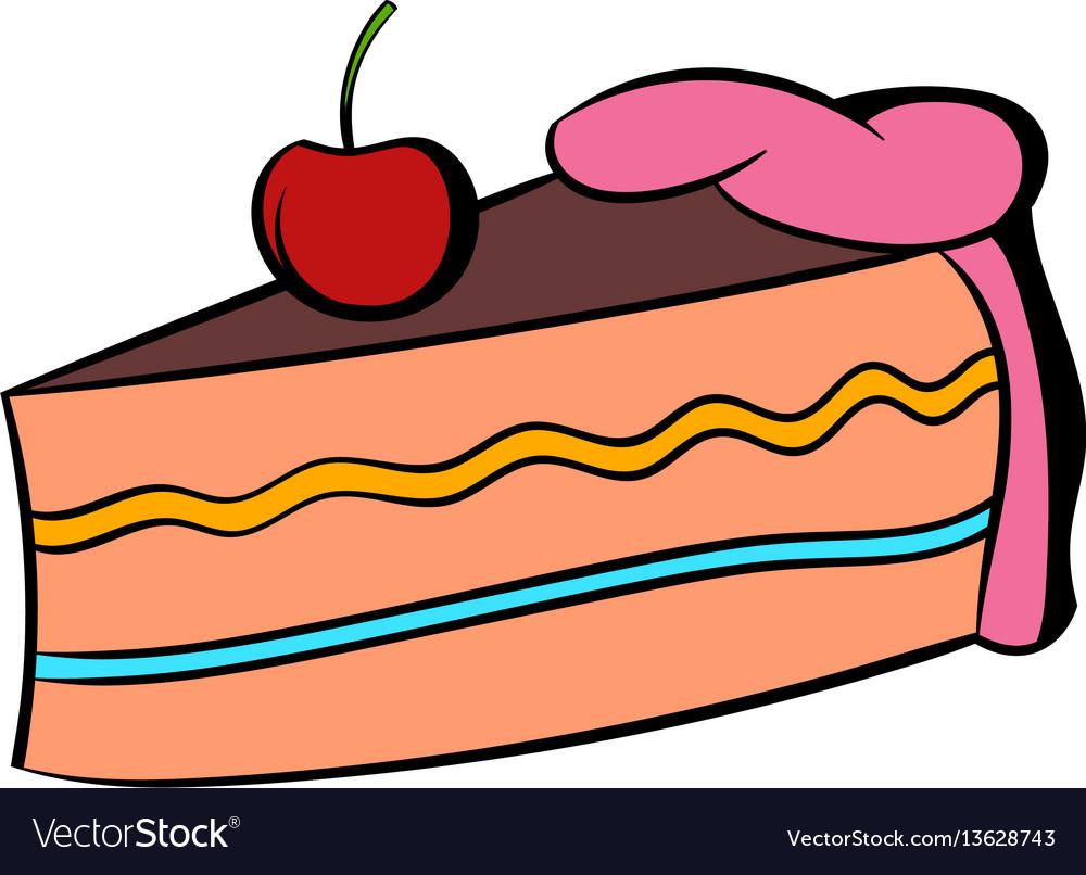 Piece of cake icon cartoon