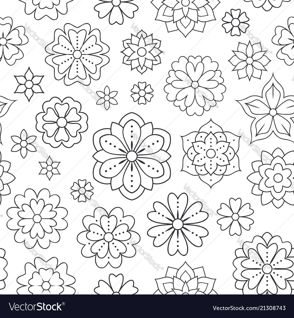 Seamless pattern with outline flowers for coloring