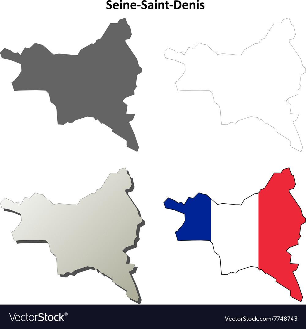 Saint Denis France Map.Seine Saint Denis Ile De France Outline Map Set Vector Image On Vectorstock