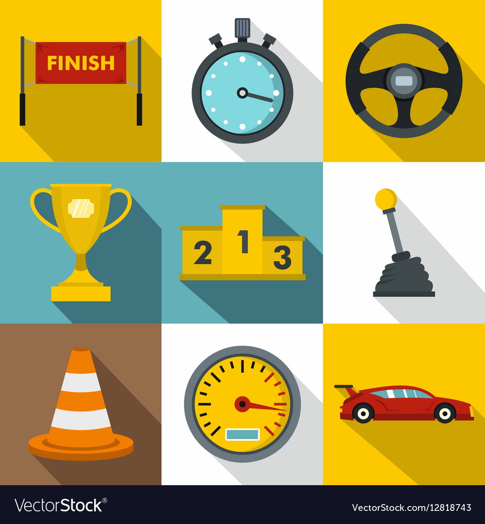 Speed race icons set flat style