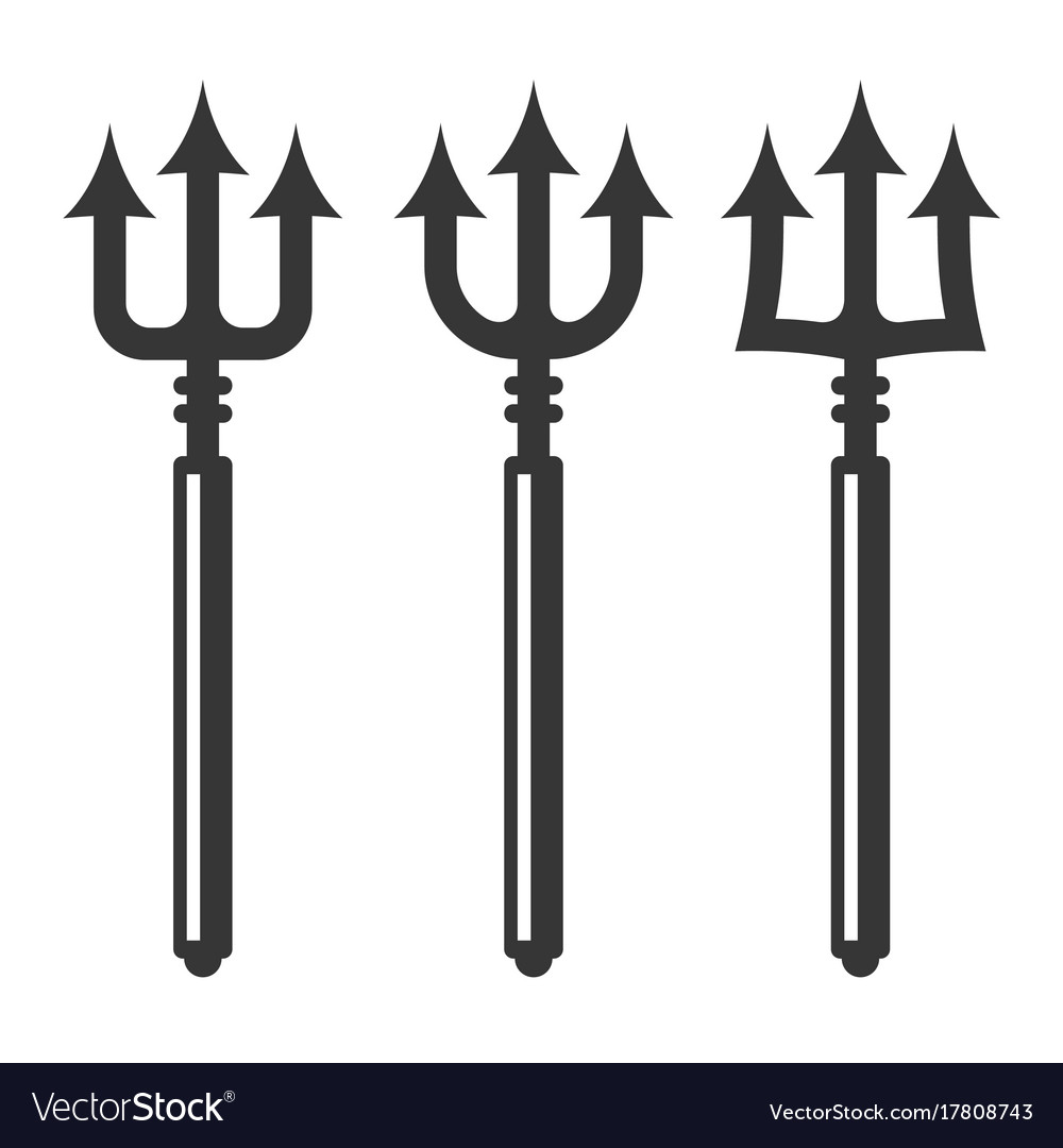 Trident silhouette set vector image
