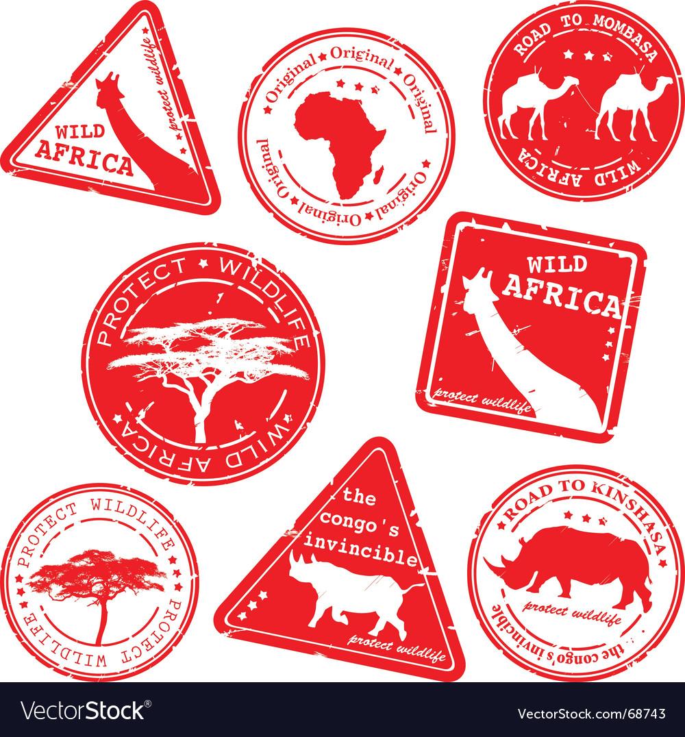 Wild Africa stamps vector image