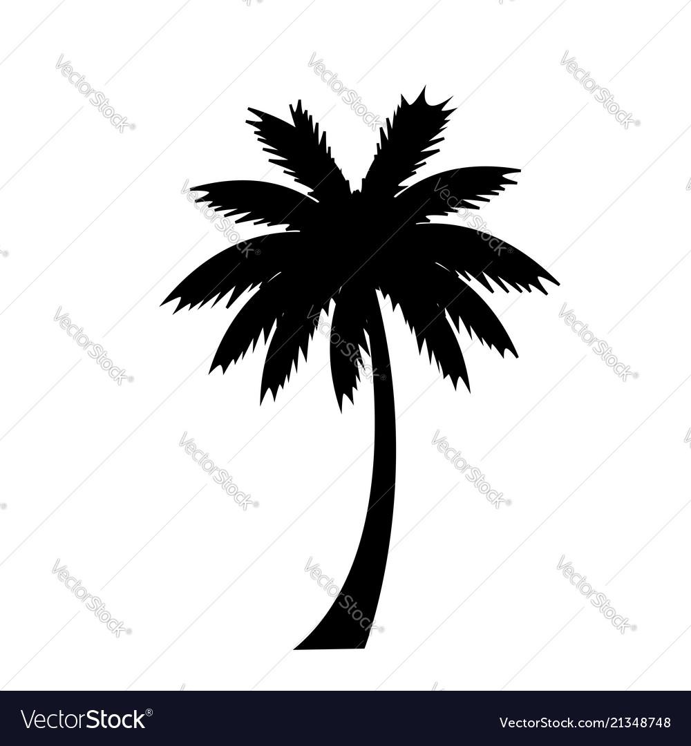 Black silhouette of palm tree icon on white