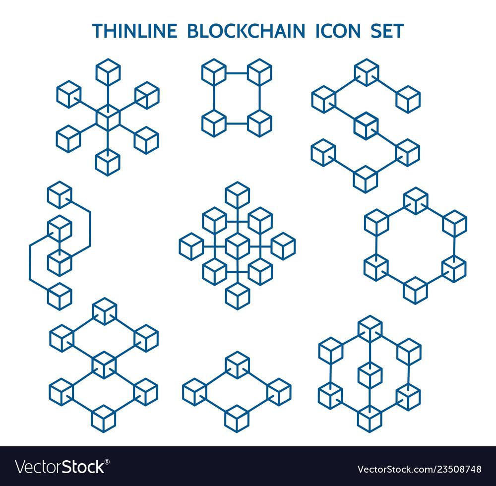 Blockchain line icons