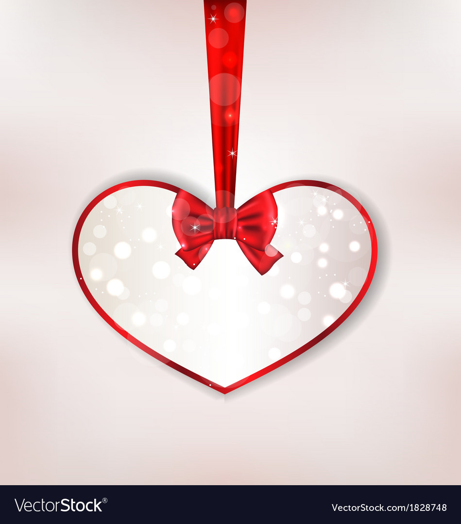 card heart shaped with silk bow for valentine day vector image