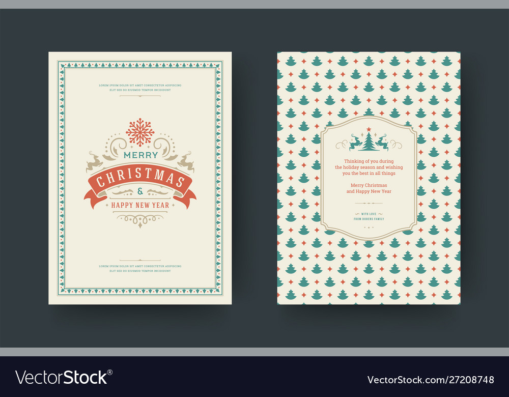 Christmas greeting card vintage typographic design