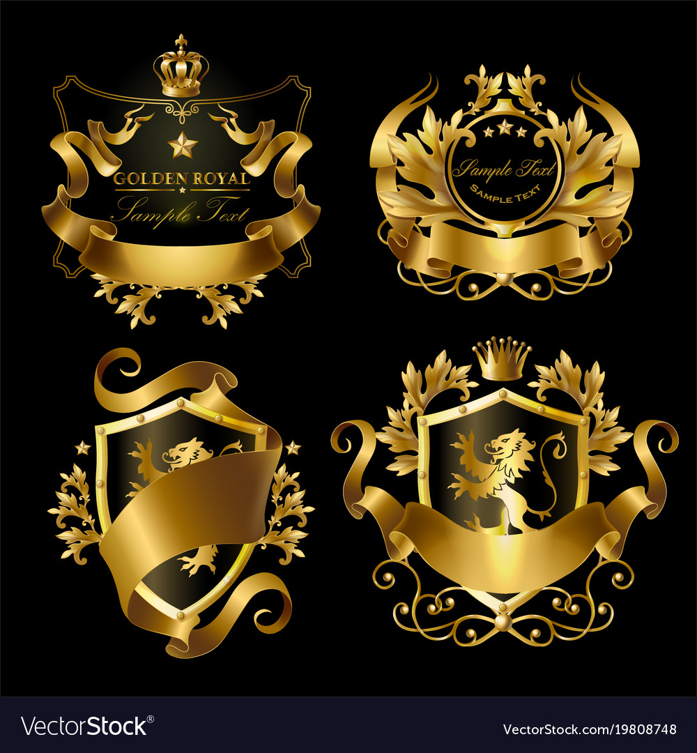 Golden royal stickers with crowns shields