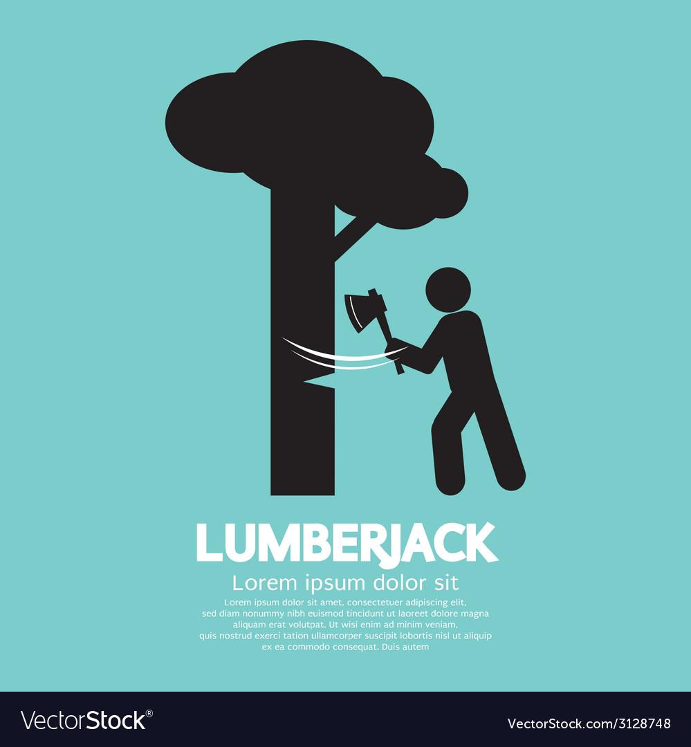 Lumberjack With Axe Symbol vector image