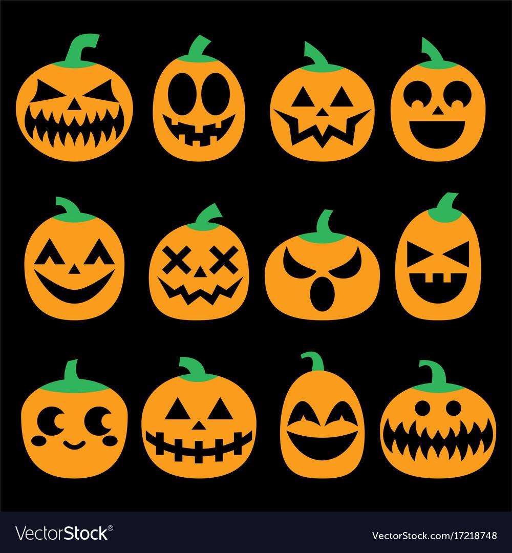 pumpkin icons set halloween scary faces royalty free vector rh vectorstock com scary pumpkin faces easy pumpkin scary faces templates