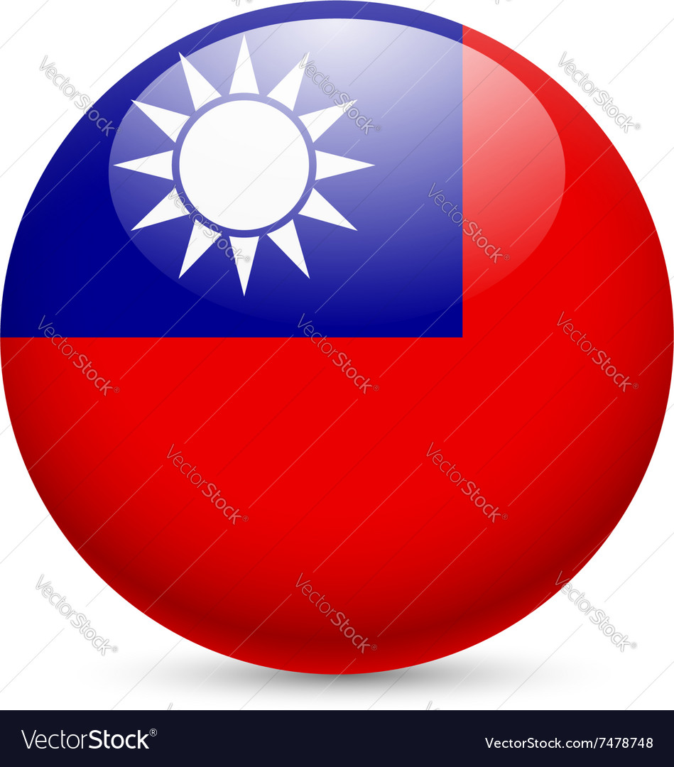 Round glossy icon of taiwan