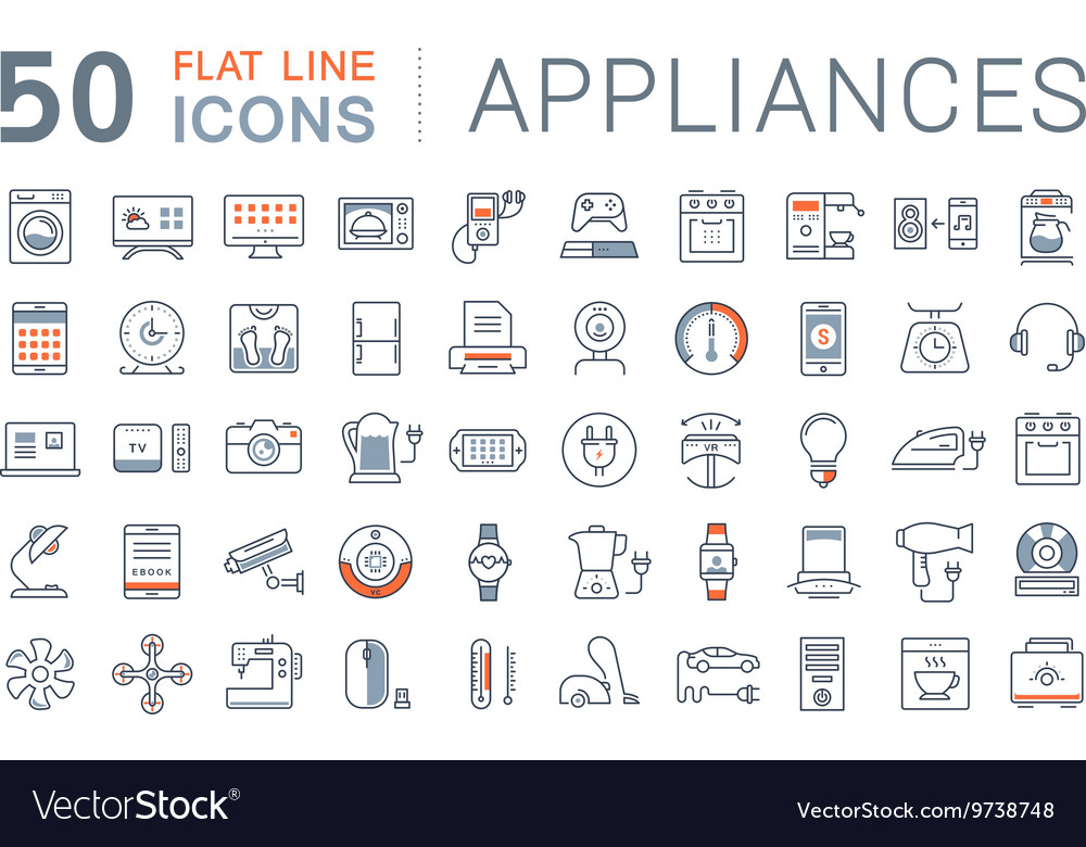 Set Flat Line Icons Appliance
