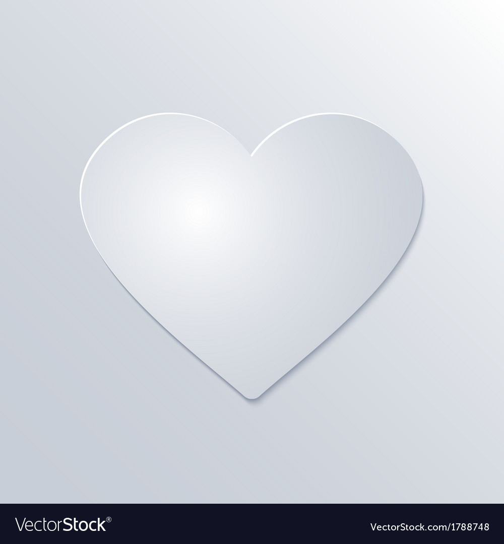 Valentines Day Paper Heart on White Background vector image
