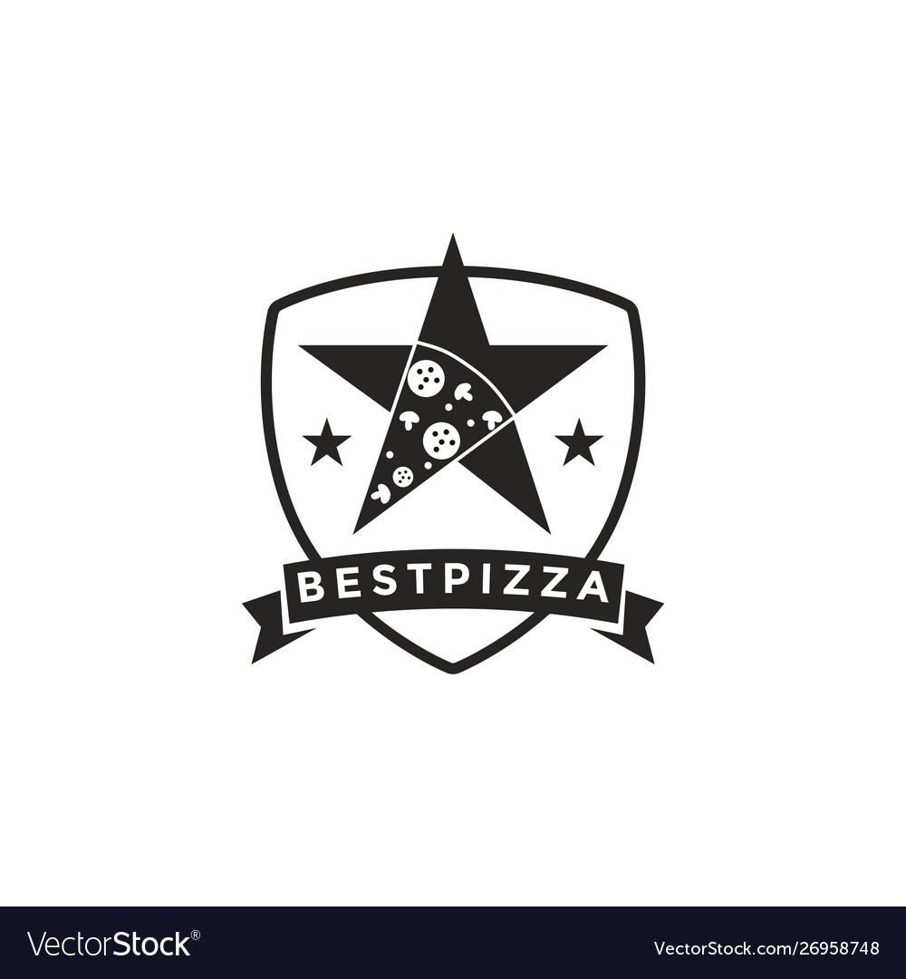 Vintage retro seal emblem logo pizza and star