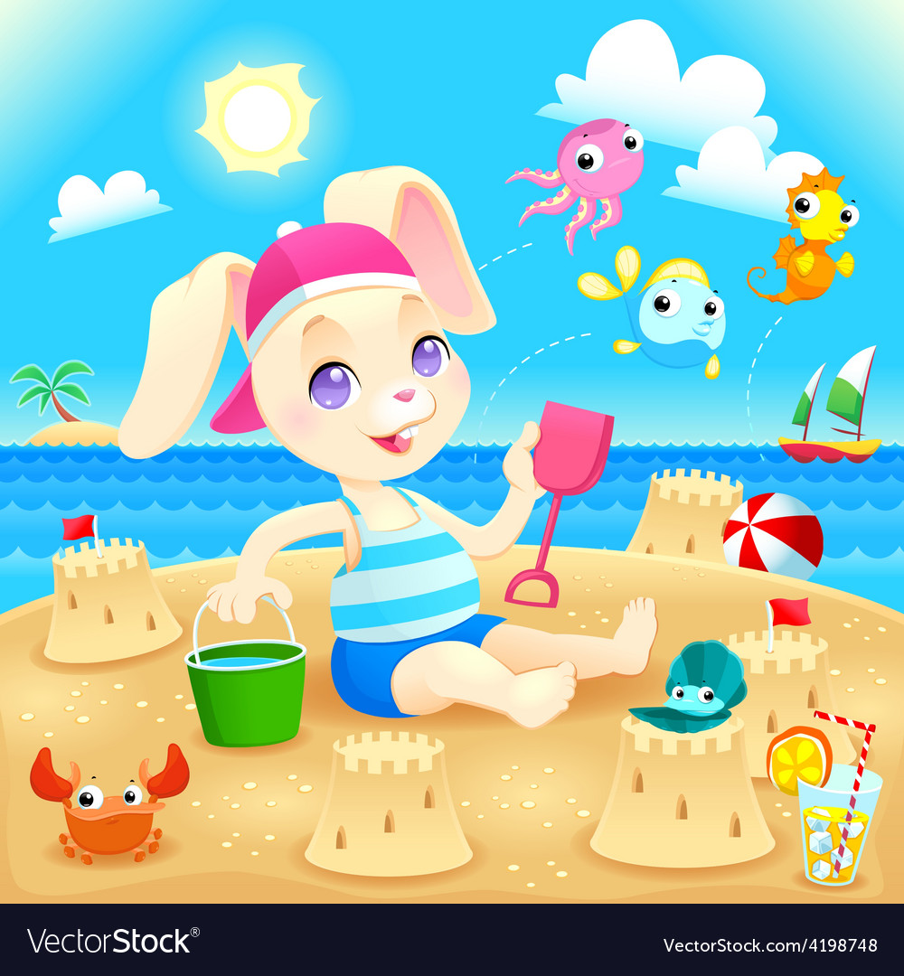 Young Rabbit Makes Castles On The Beach Vector Image