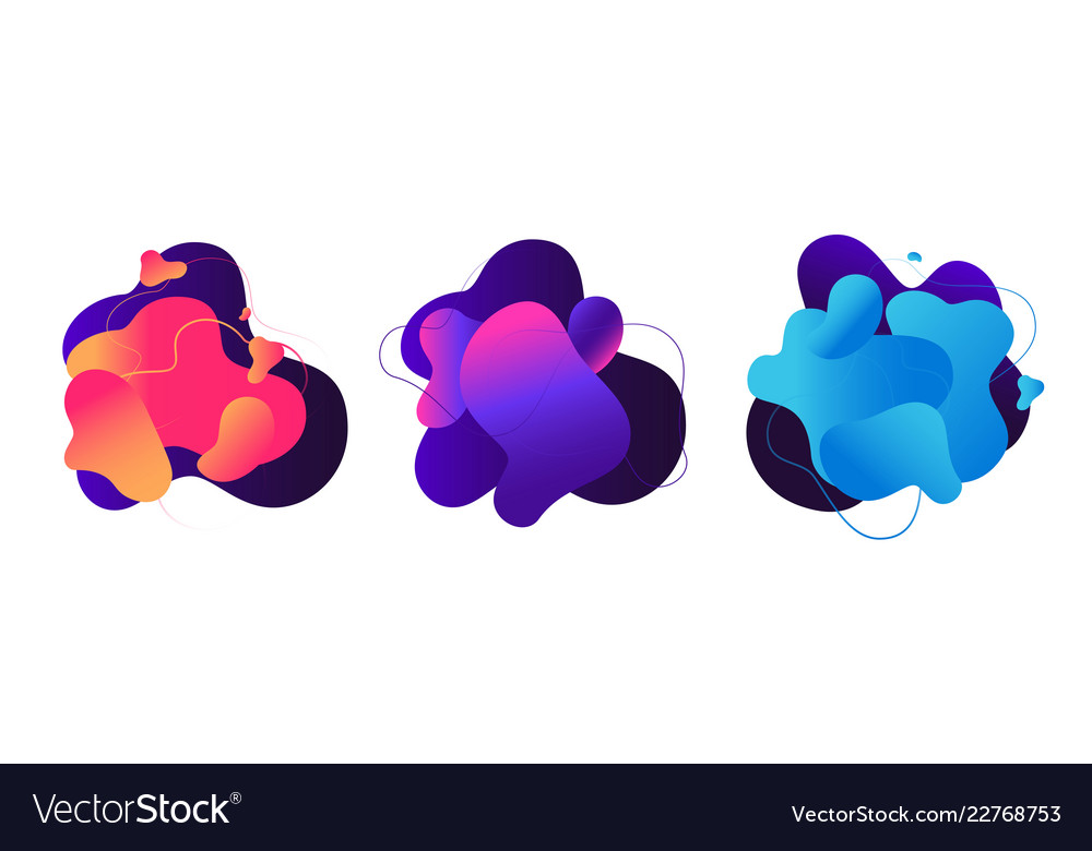 Abstract fluid shapes liquid graphic elements 3d
