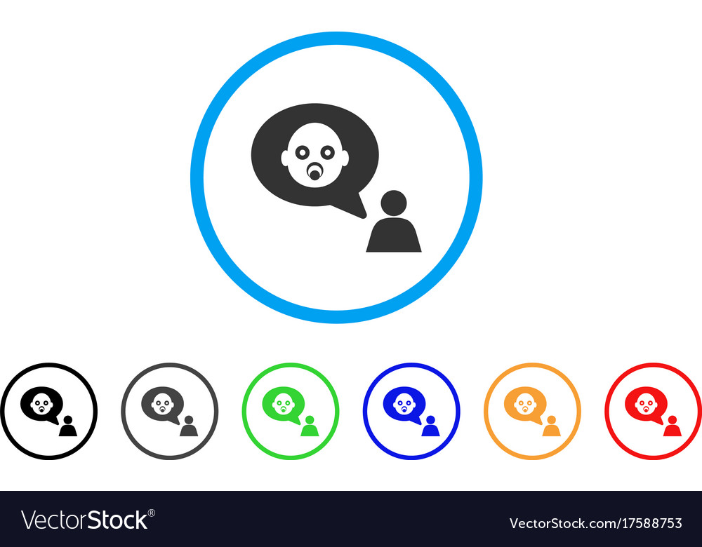 Baby thinking person rounded icon vector image