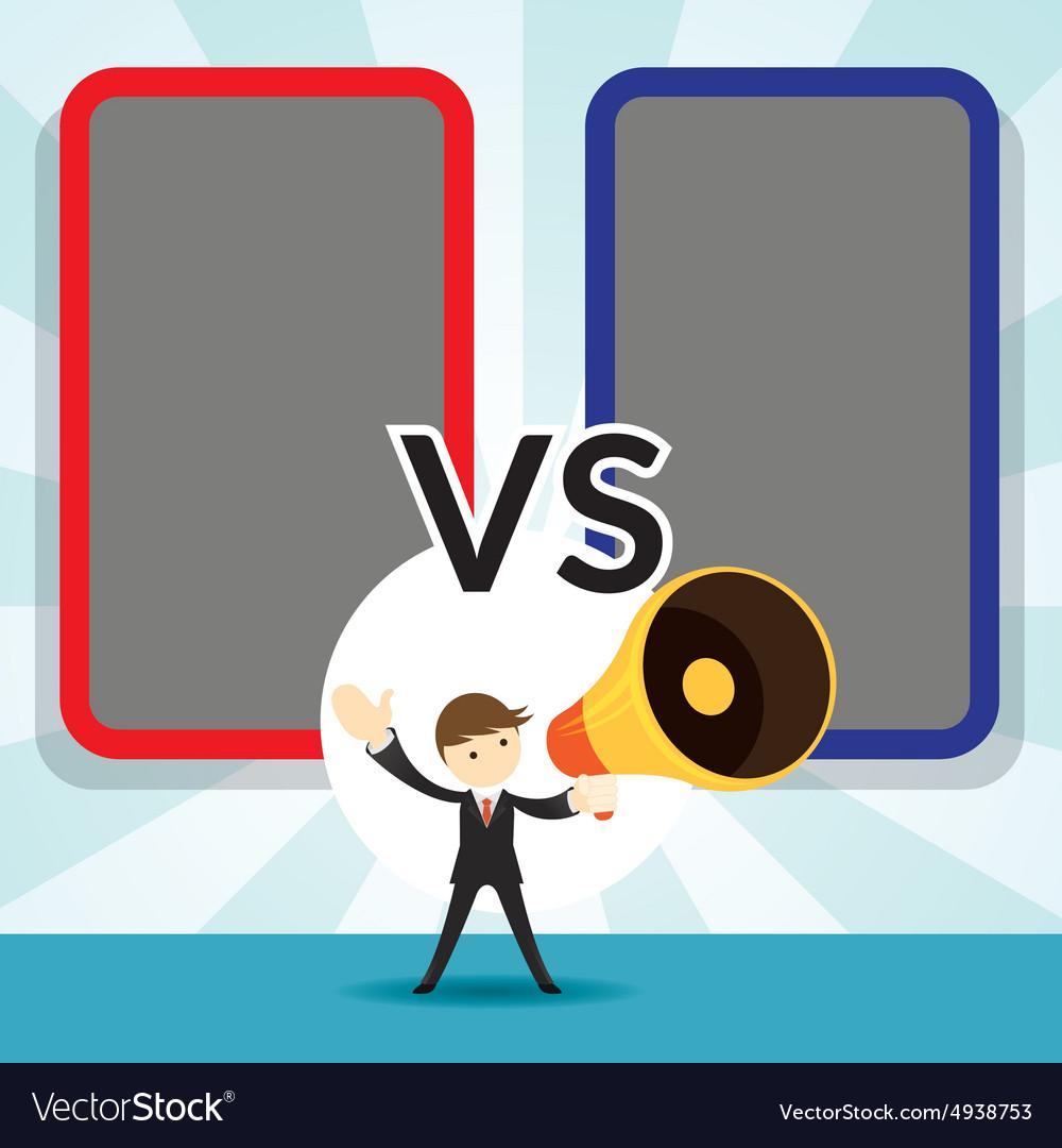 Businessman with Megaphone Announcement Versus