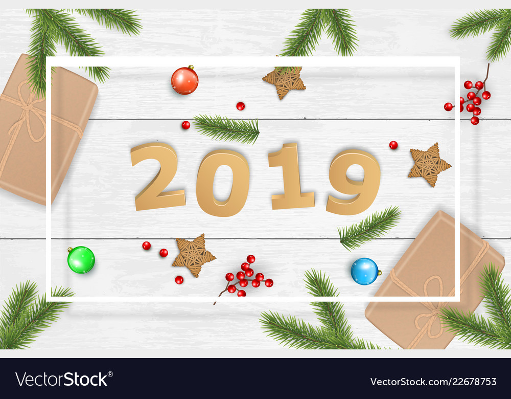 Christmas and 2019 new year background