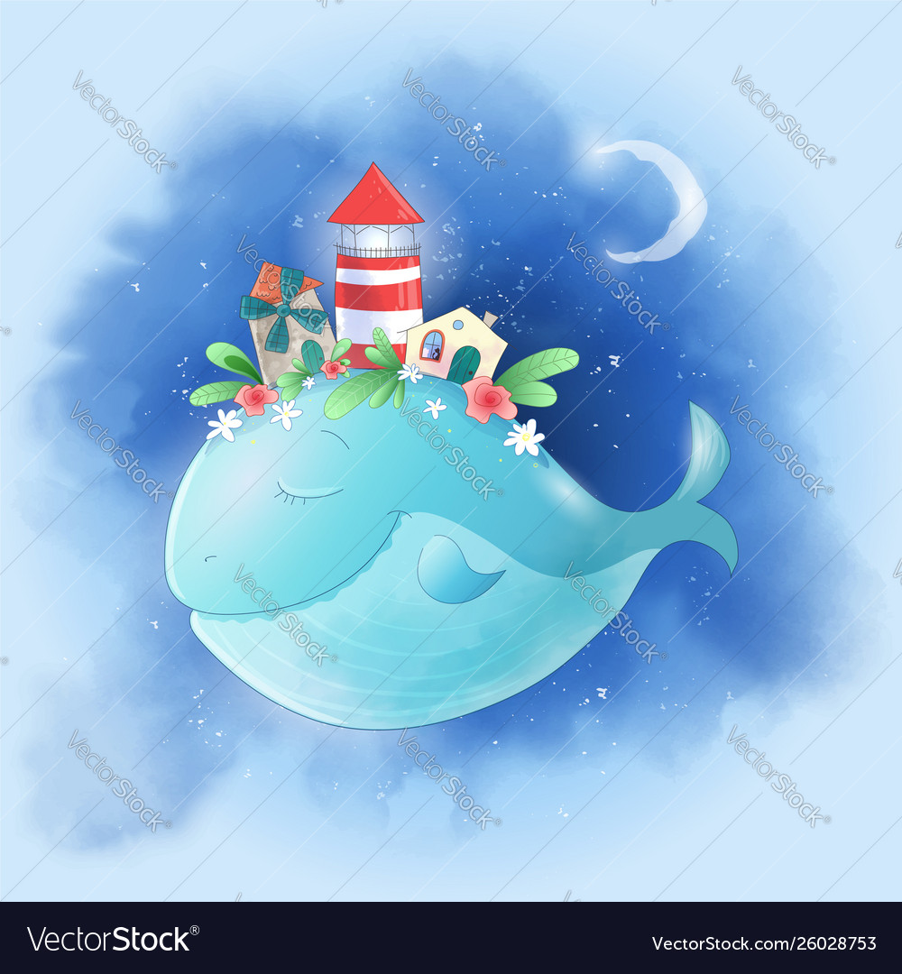 Cute cartoon whale in sky with a city on its