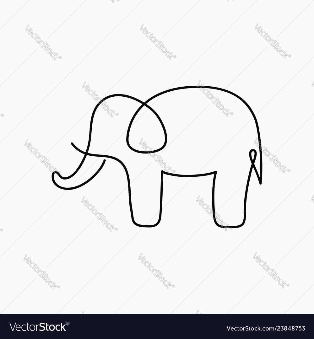 Elephant one line drawing