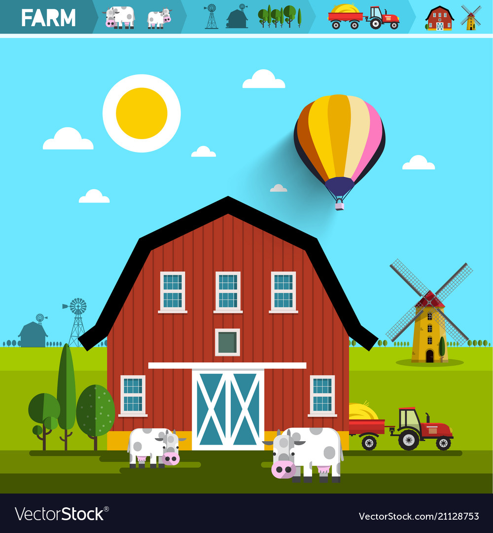Farm with barn cows tractor and wind mills rural vector image