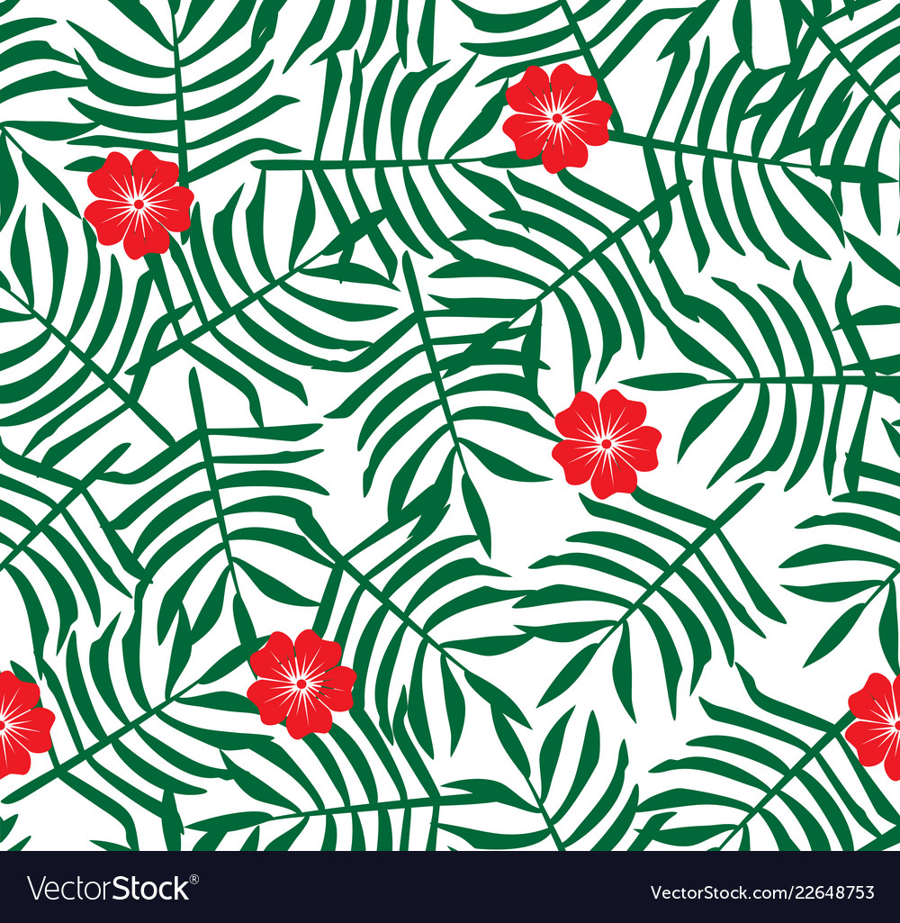 Hibiscus Flower Hawaiian Floral Pattern Royalty Free Vector