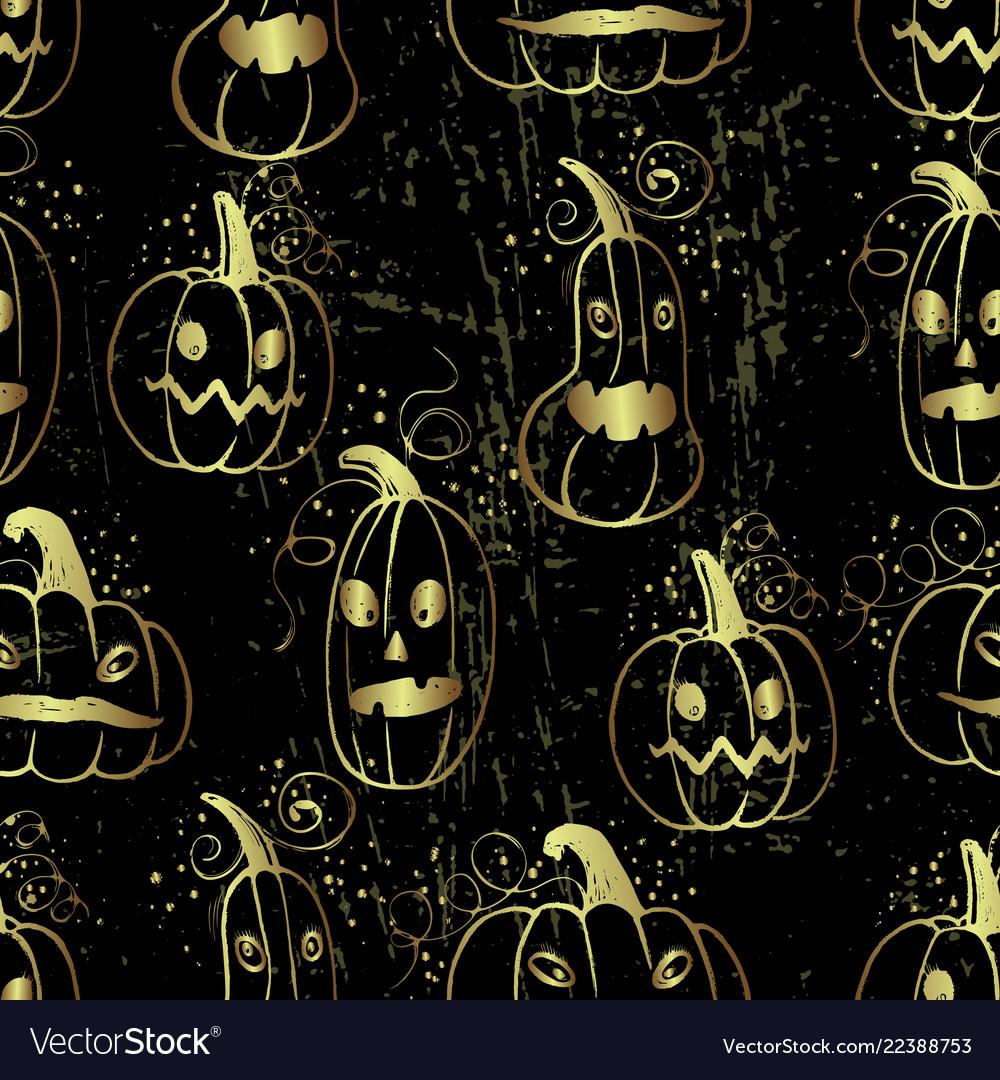Ink hand drawn halloween pattern with pumpkin