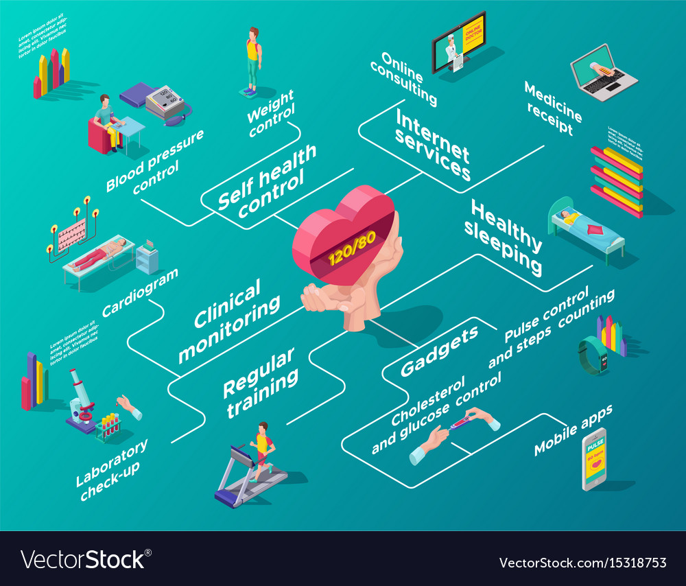 Isometric heart care infographic flowchart vector image