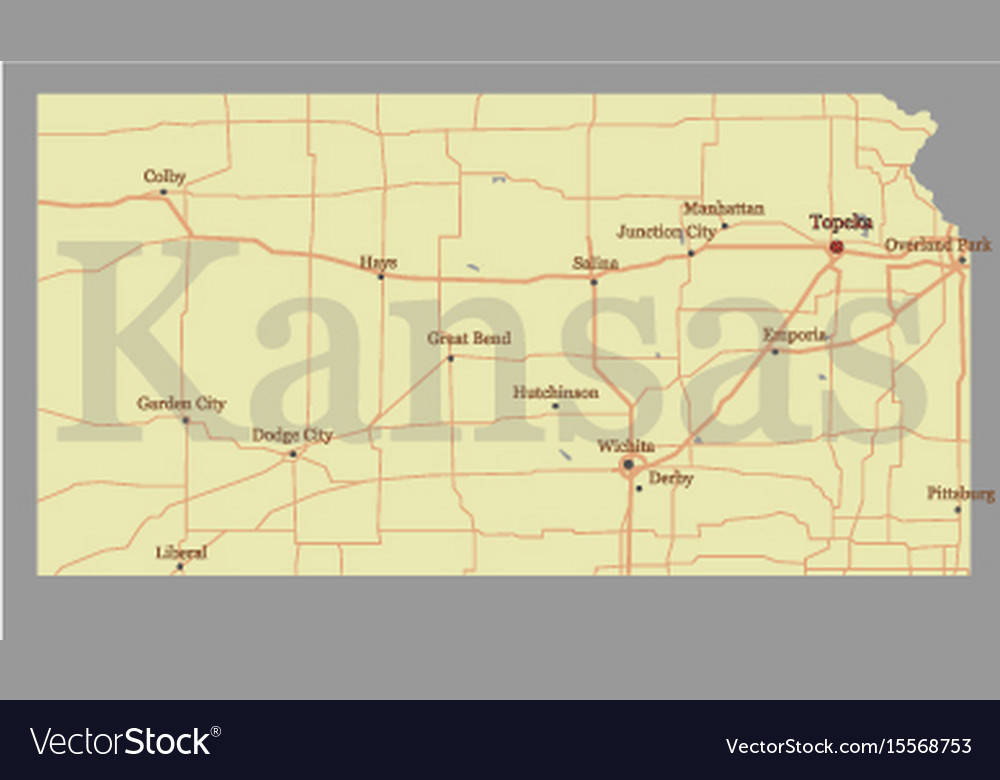 Map Of America Kansas.Kansas Accurate Exact Detailed State Map With