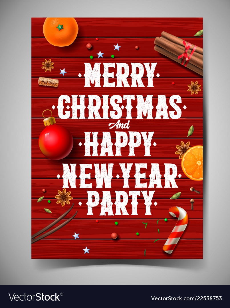 Merry christmas and happy new year party design