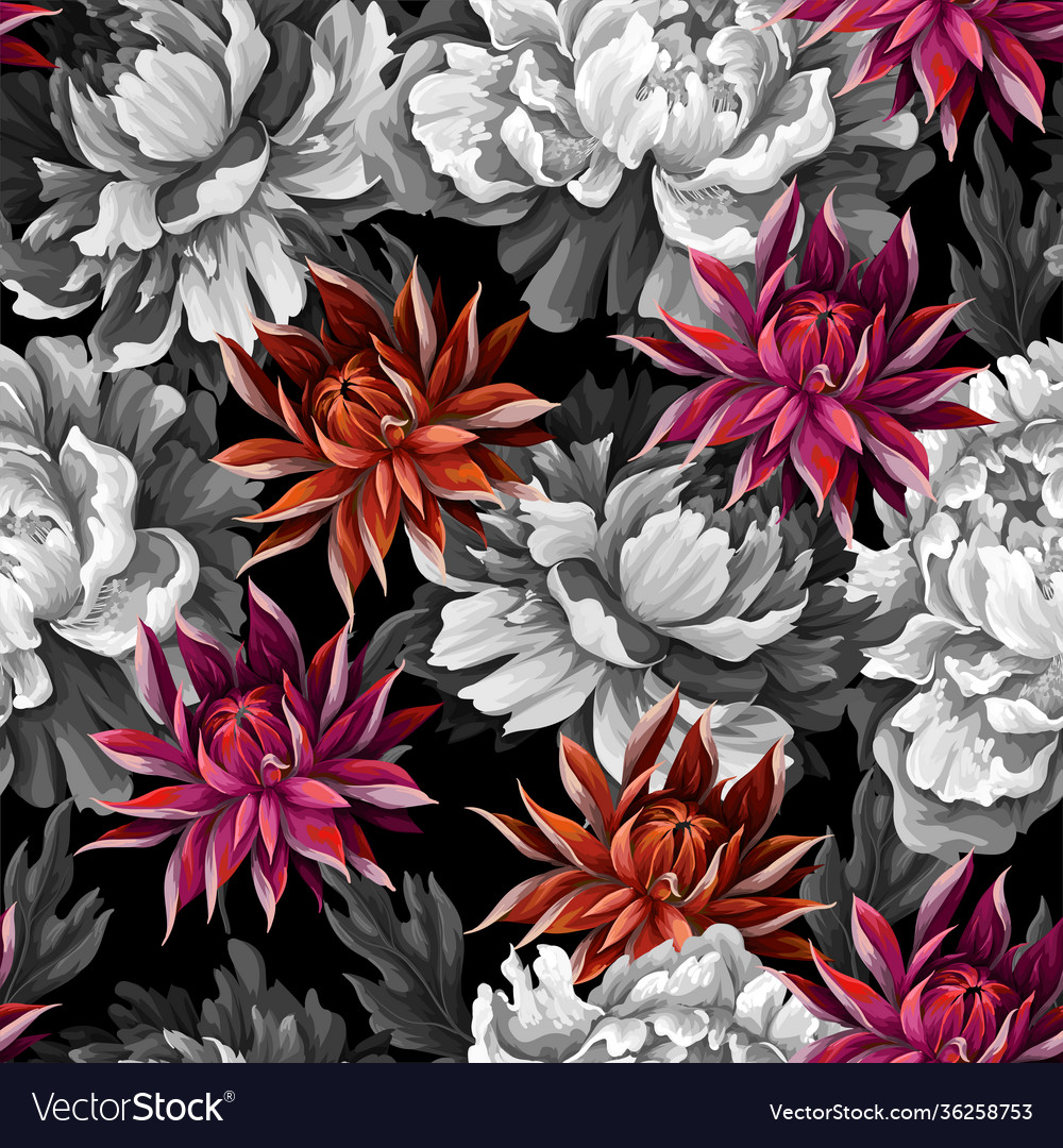 Monochrome seamless pattern with vintage peonies