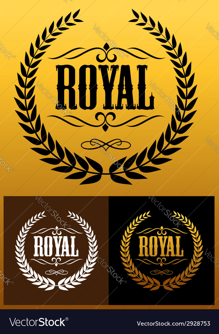 Royal laurel wreath icons vector image