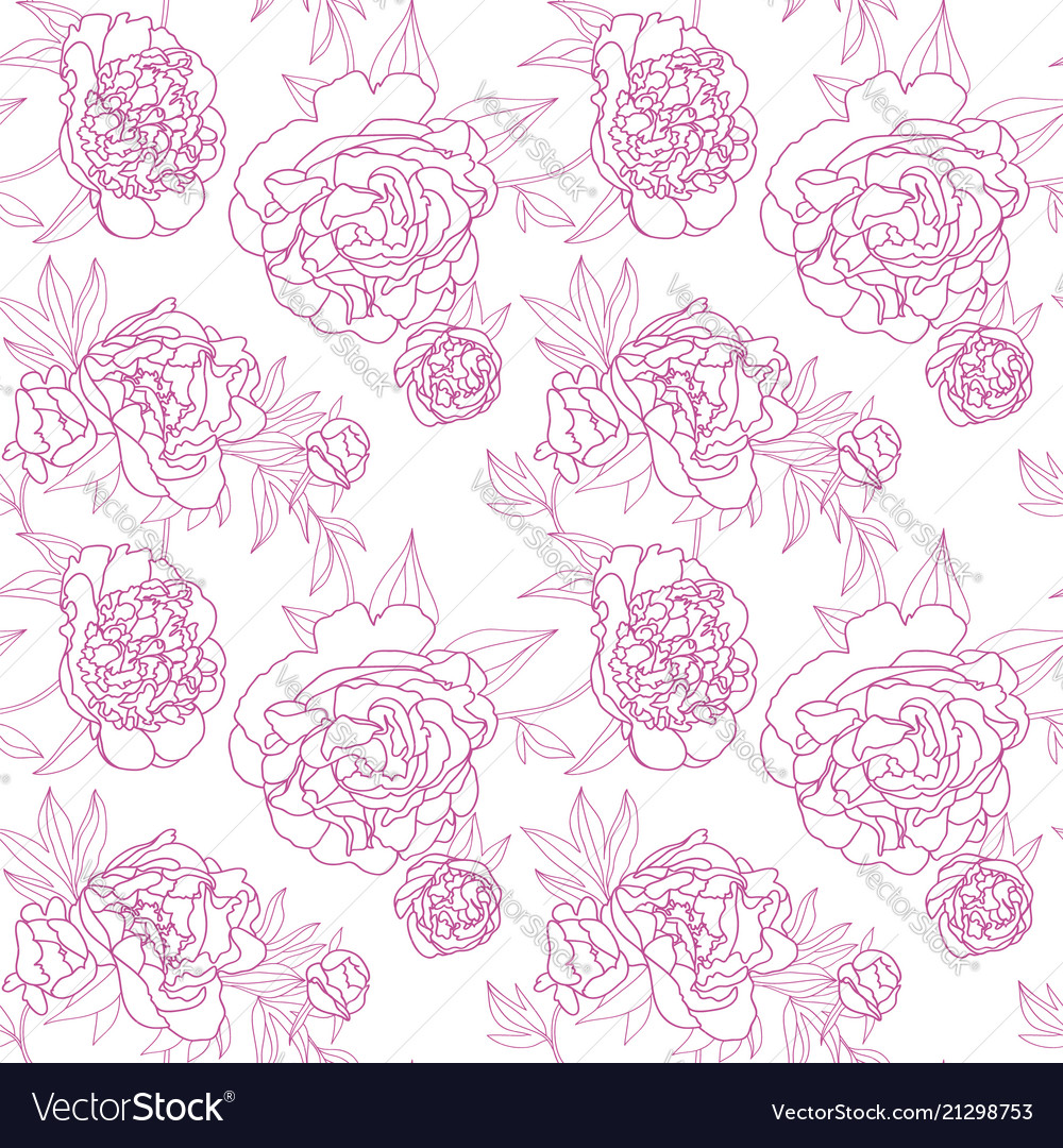 Seamless floral pattern with peony