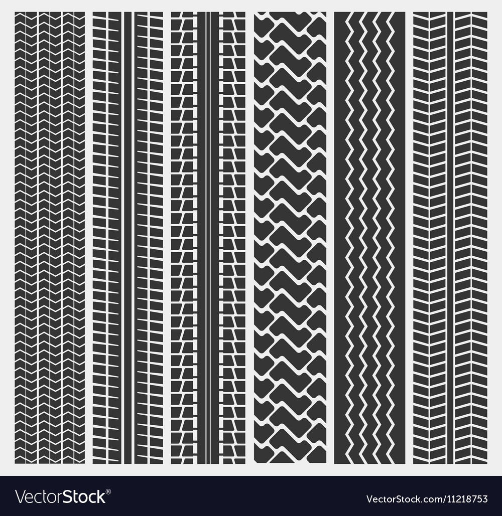 Set of multiple car tire or truck tyre patterns vector image