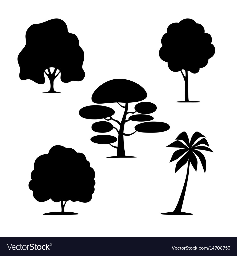 Silhouettes of trees on a white background