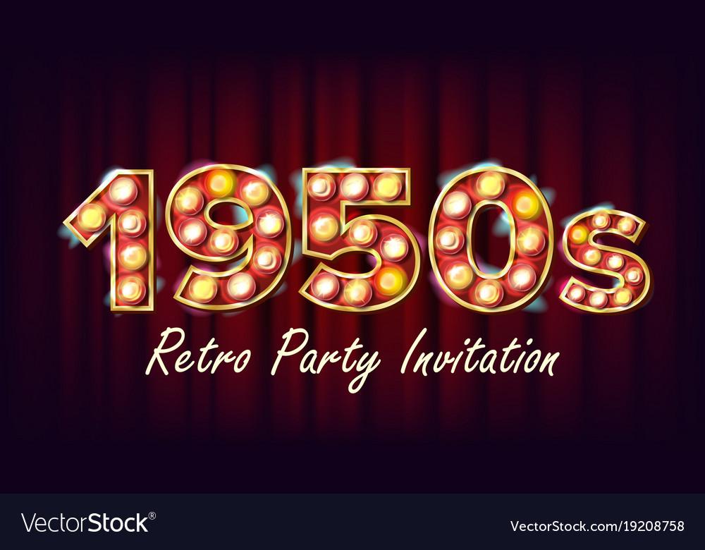 1950s retro party invitation 1950 style