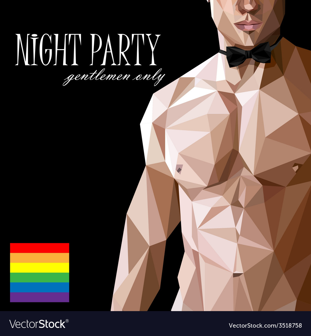 A caucasian or asian man nude fit body with bow vector image