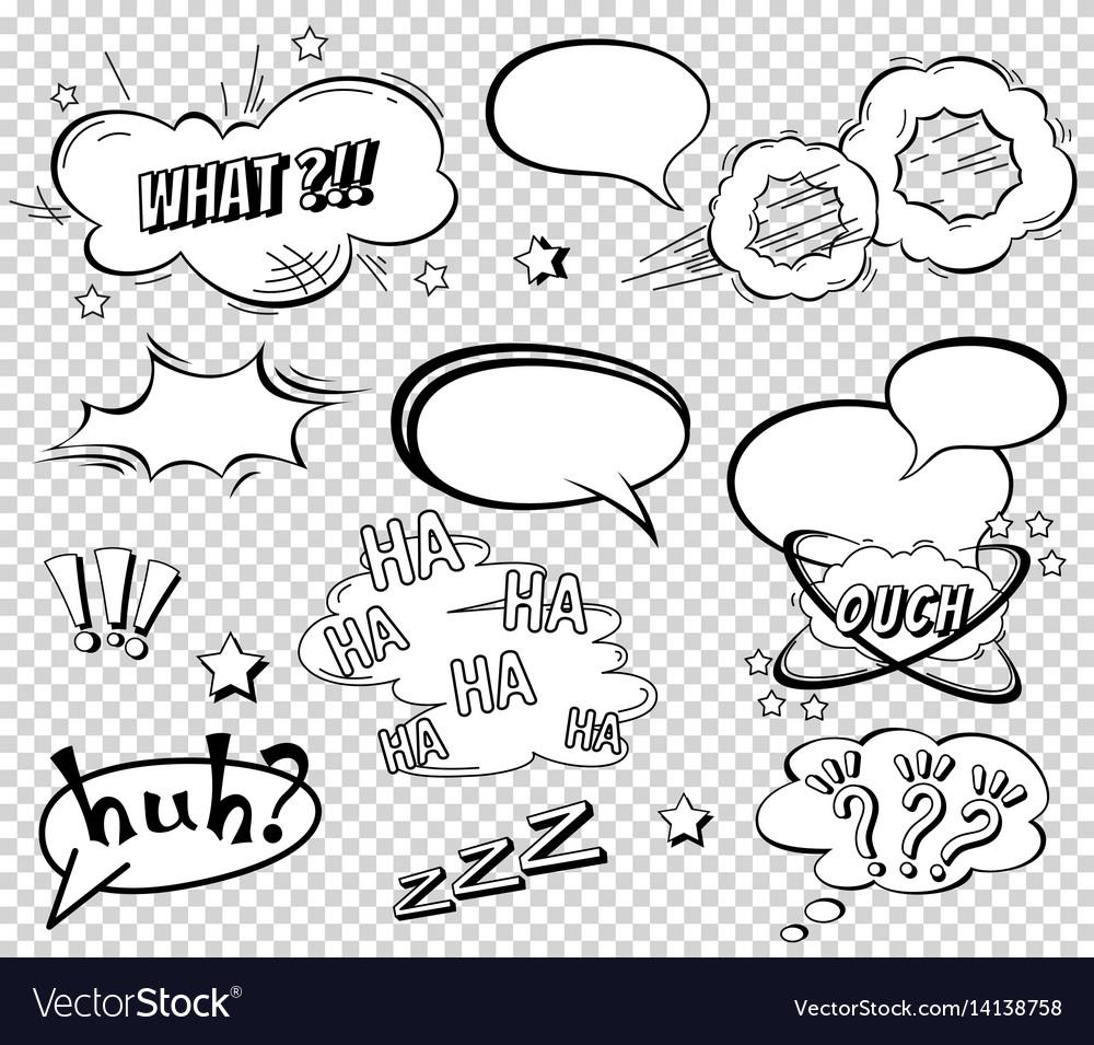 Comic speech bubbles set wording sound effect
