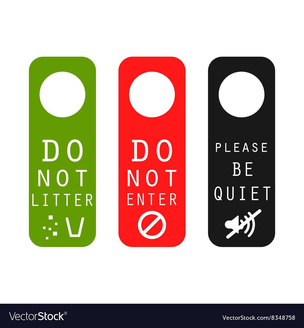 Do Not Litter Enter Be Quiet Door Signs Vector Image