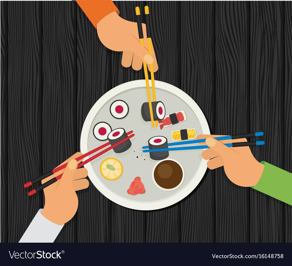 Eating sushi flat design