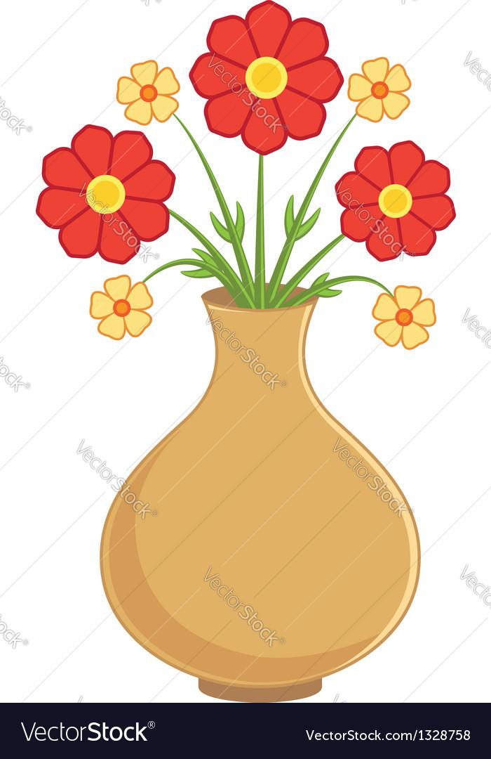 Flowers In Vase Royalty Free Vector Image Vectorstock