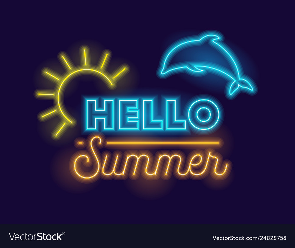 Hello summer creative banner with realistic neon